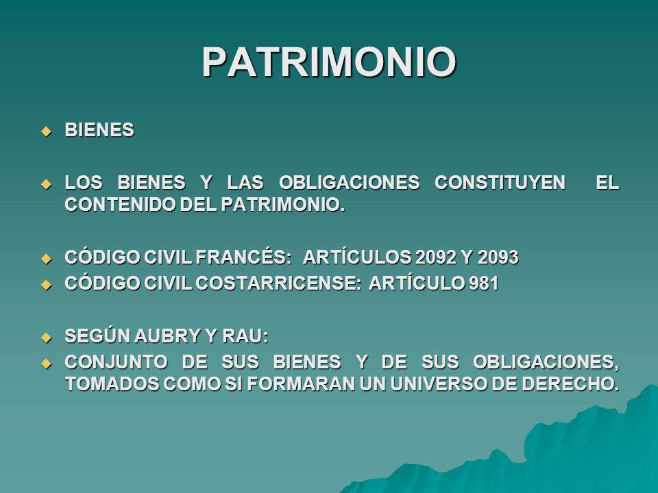 PATRIMONIO BIENES. LOS BIENES Y LAS OBLIGACIONES CONSTITUYEN EL CONTENIDO DEL PATRIMONIO. CÓDIGO CIVIL FRANCÉS: ARTÍCULOS 2092 Y 2093.