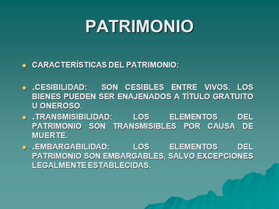 PATRIMONIO CARACTERÍSTICAS DEL PATRIMONIO: