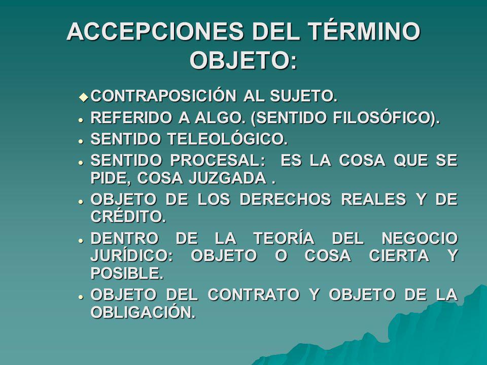 ACCEPCIONES DEL TÉRMINO OBJETO: