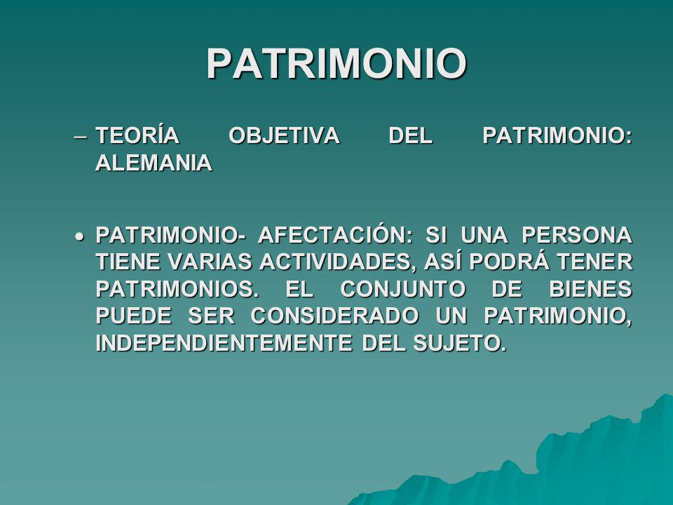 PATRIMONIO TEORÍA OBJETIVA DEL PATRIMONIO: ALEMANIA