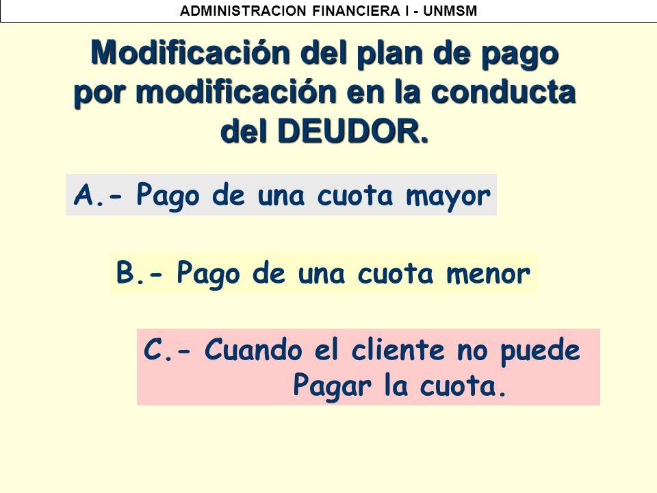 Modificación del plan de pago por modificación en la conducta