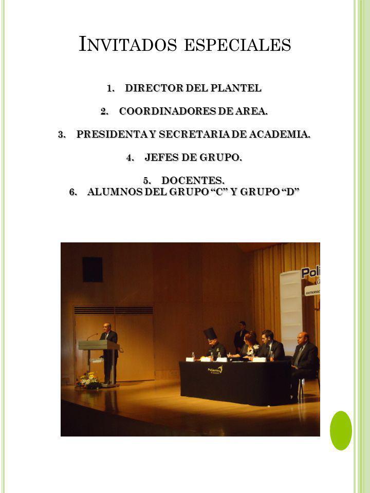 Invitados especiales DIRECTOR DEL PLANTEL 2. COORDINADORES DE AREA.