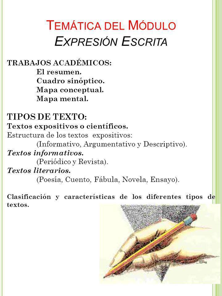 Temática del Módulo Expresión Escrita