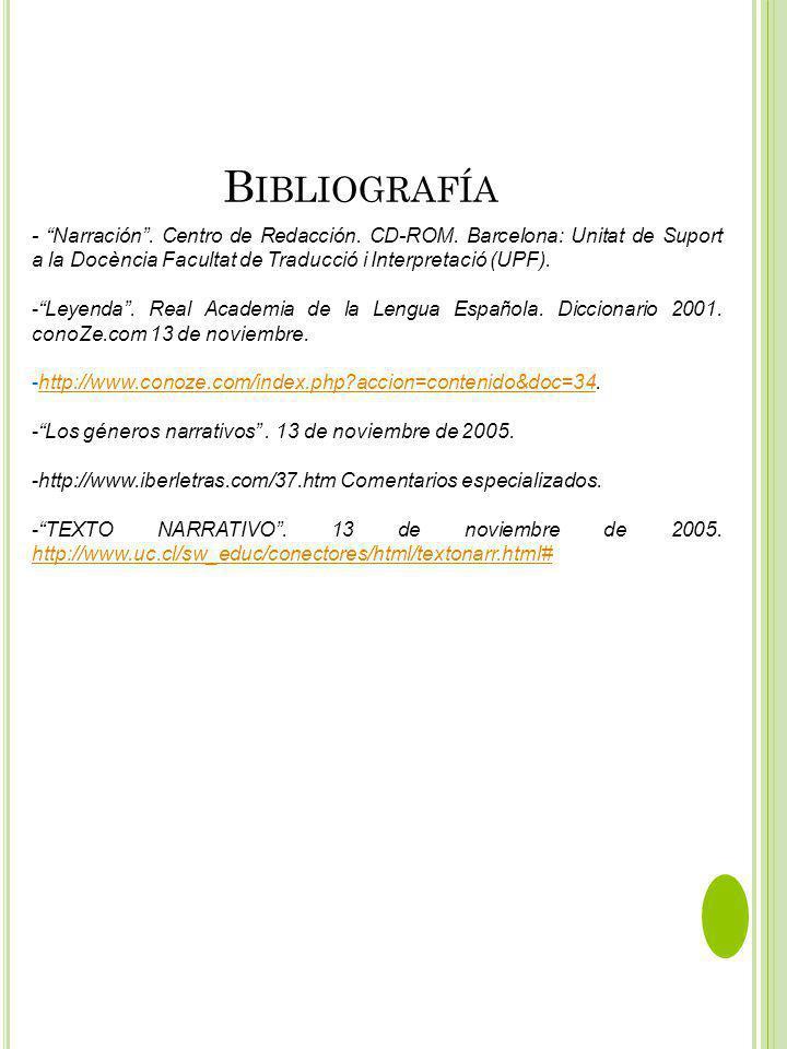 Bibliografía - Narración . Centro de Redacción. CD-ROM. Barcelona: Unitat de Suport a la Docència Facultat de Traducció i Interpretació (UPF).