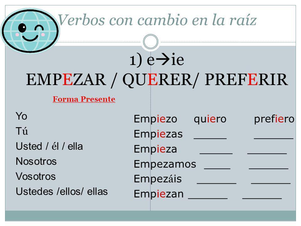 Verbos con cambio en la raíz 1) eie EMPEZAR / QUERER/ PREFERIR