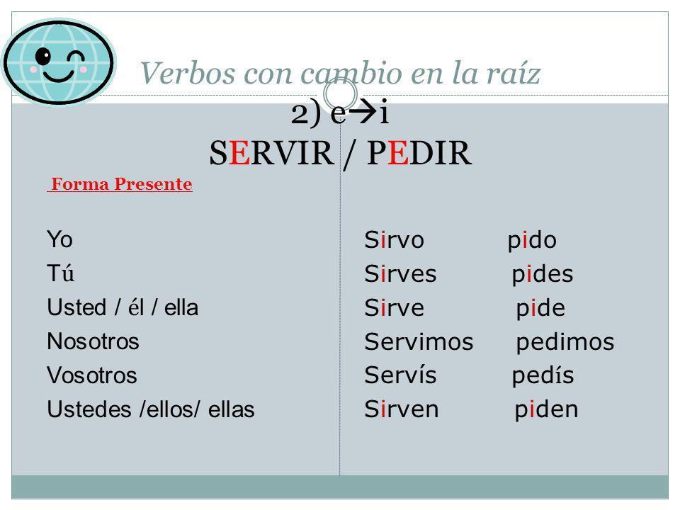 Verbos con cambio en la raíz 2) ei SERVIR / PEDIR