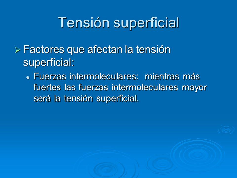 Tensión superficial Factores que afectan la tensión superficial: