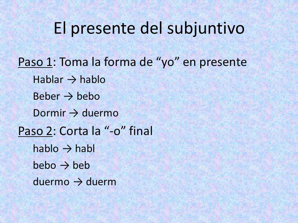 El presente del subjuntivo