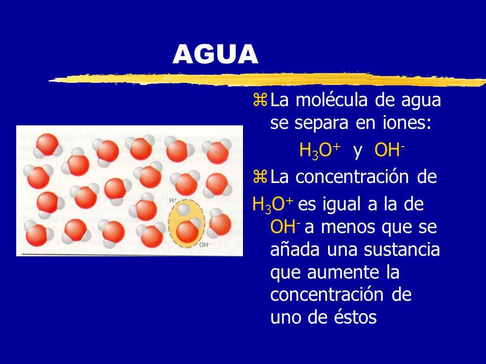 AGUA La molécula de agua se separa en iones: H3O+ y OH-