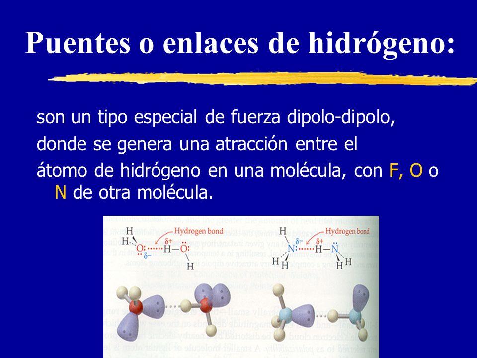 Puentes o enlaces de hidrógeno: