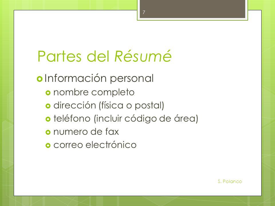 Partes del Résumé Información personal nombre completo