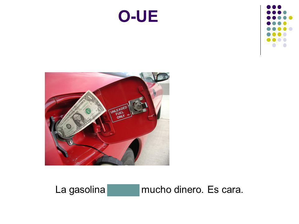 O-UE La gasolina cuesta mucho dinero. Es cara.