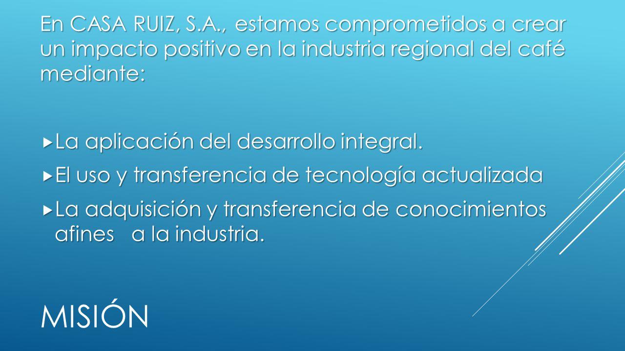 En CASA RUIZ, S.A., estamos comprometidos a crear un impacto positivo en la industria regional del café mediante:
