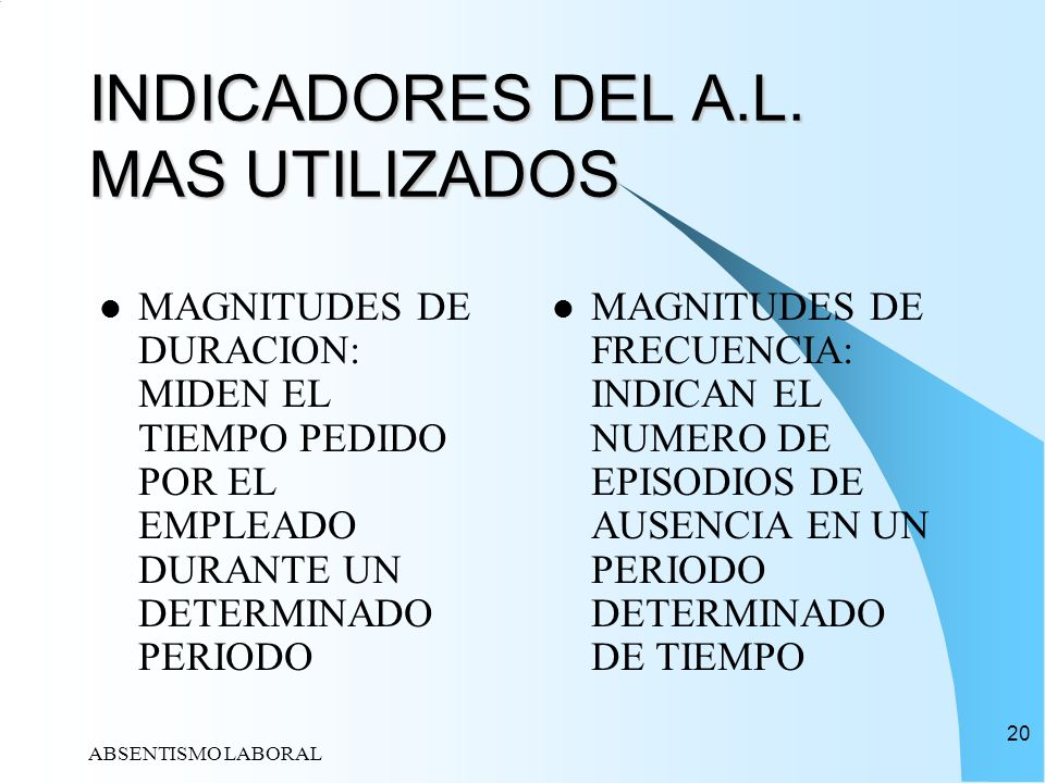 INDICADORES DEL A.L. MAS UTILIZADOS
