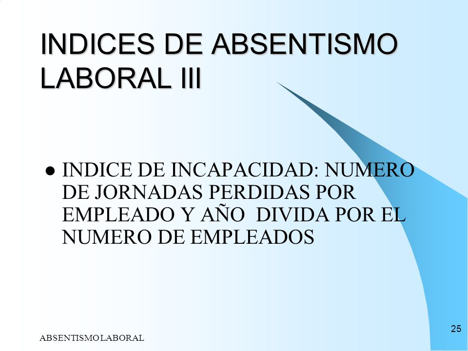 INDICES DE ABSENTISMO LABORAL III