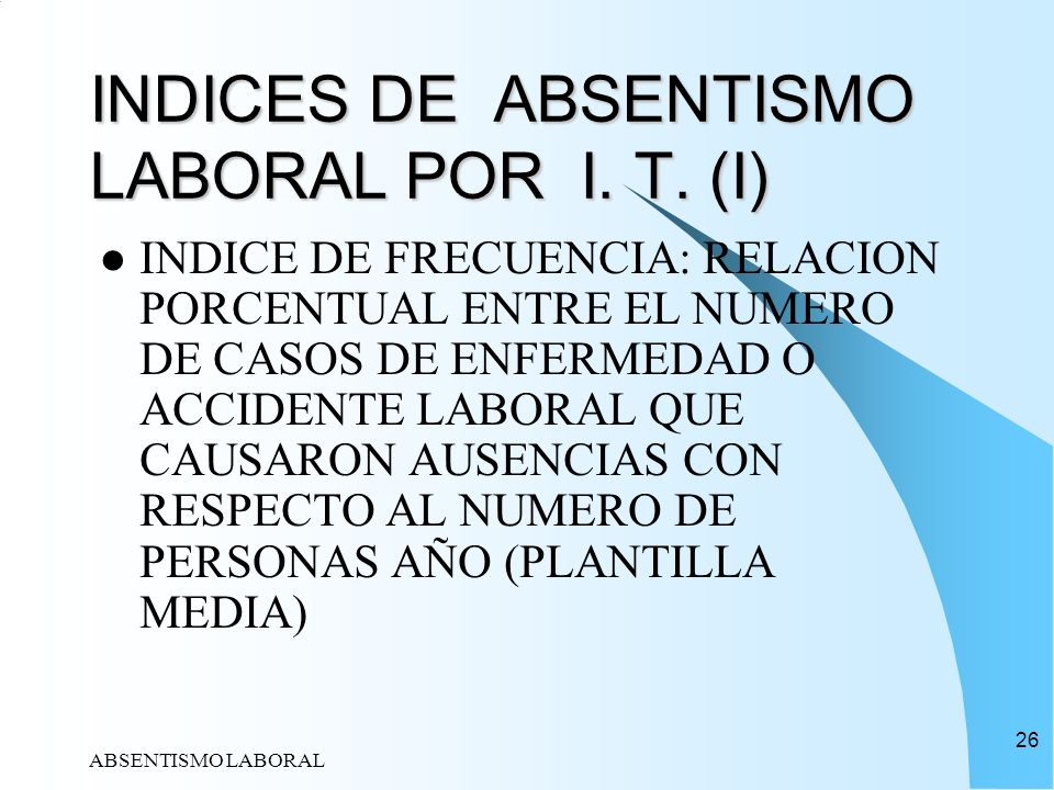 INDICES DE ABSENTISMO LABORAL POR I. T. (I)
