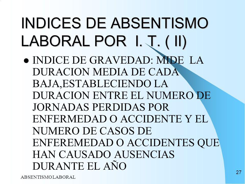 INDICES DE ABSENTISMO LABORAL POR I. T. ( II)