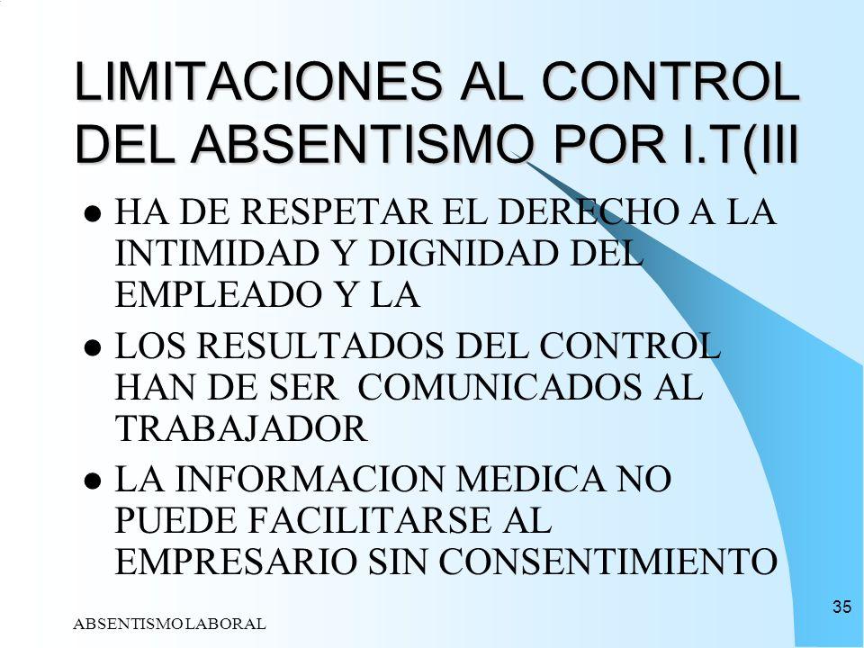 LIMITACIONES AL CONTROL DEL ABSENTISMO POR I.T(III