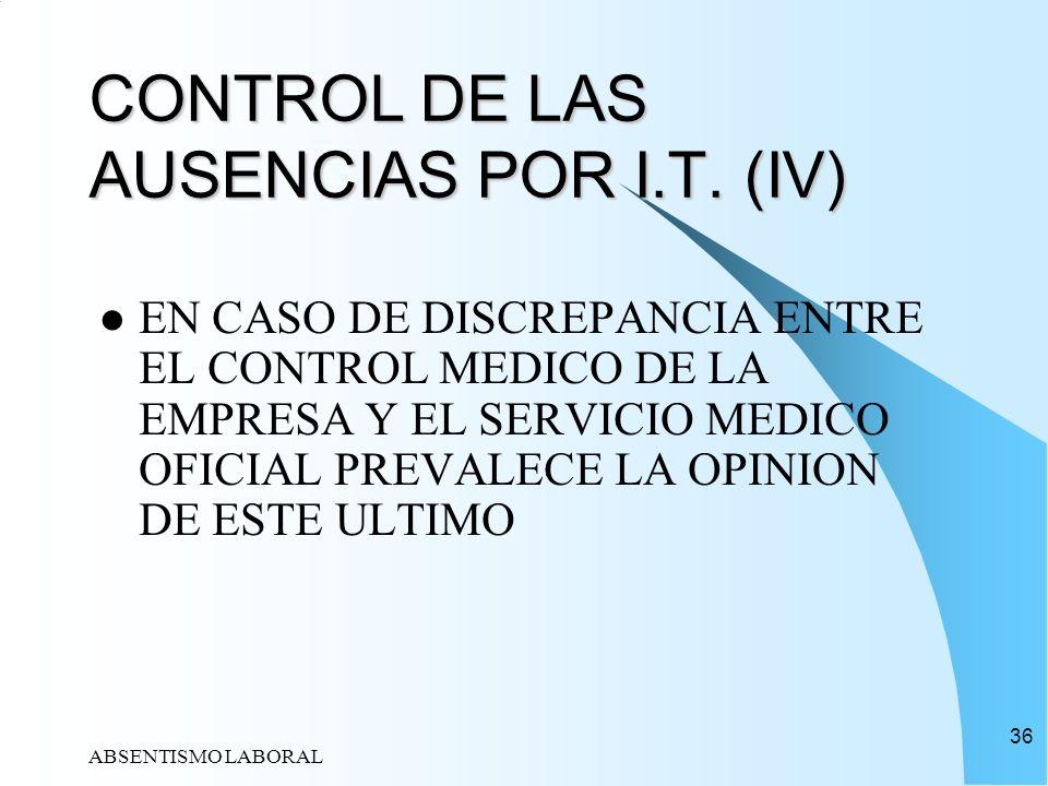 CONTROL DE LAS AUSENCIAS POR I.T. (IV)