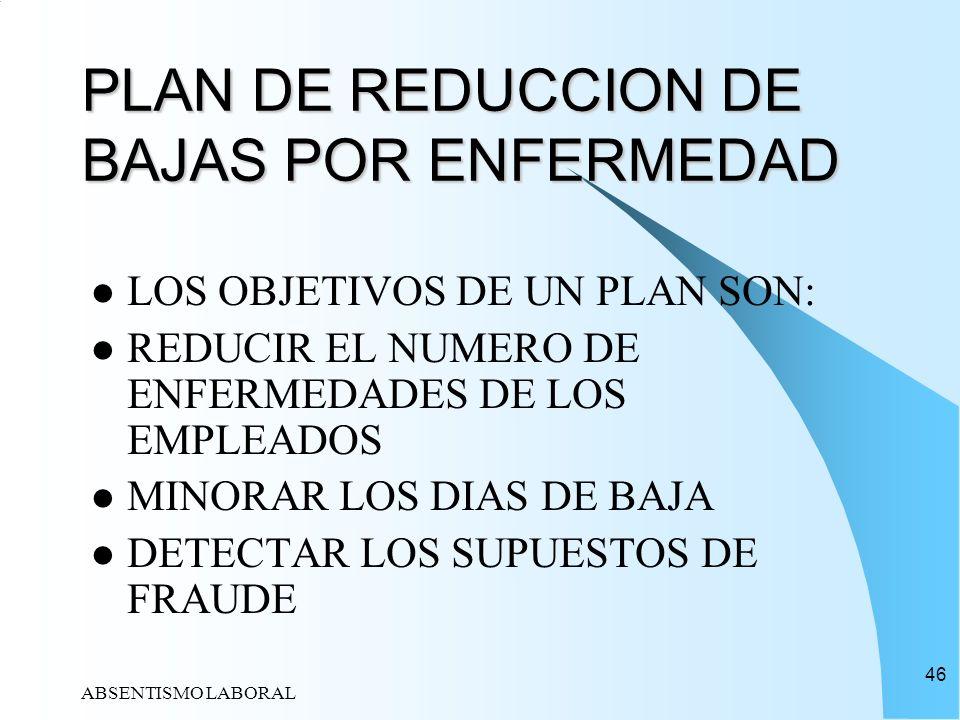 PLAN DE REDUCCION DE BAJAS POR ENFERMEDAD