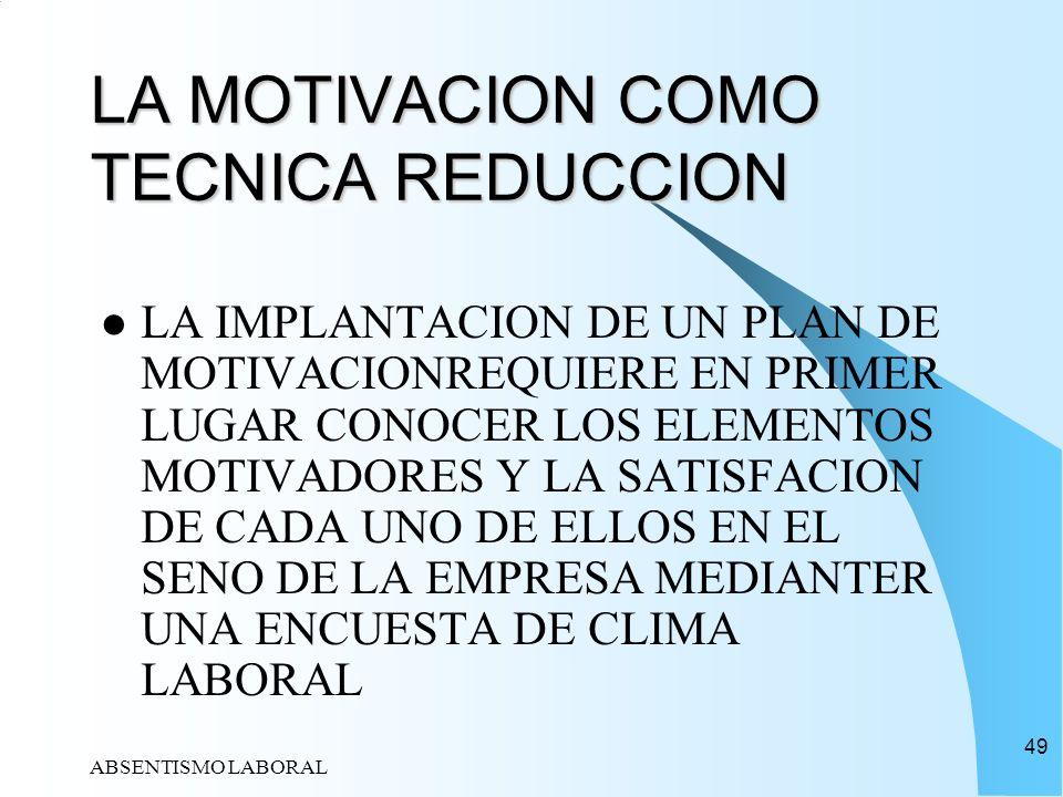 LA MOTIVACION COMO TECNICA REDUCCION
