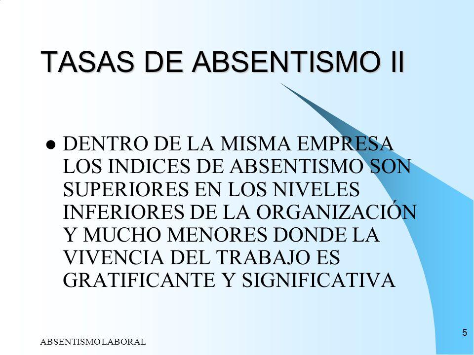 TASAS DE ABSENTISMO II