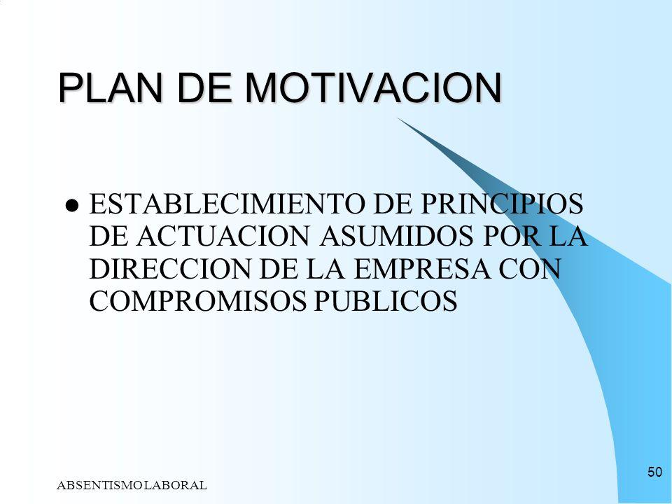 PLAN DE MOTIVACIONESTABLECIMIENTO DE PRINCIPIOS DE ACTUACION ASUMIDOS POR LA DIRECCION DE LA EMPRESA CON COMPROMISOS PUBLICOS.