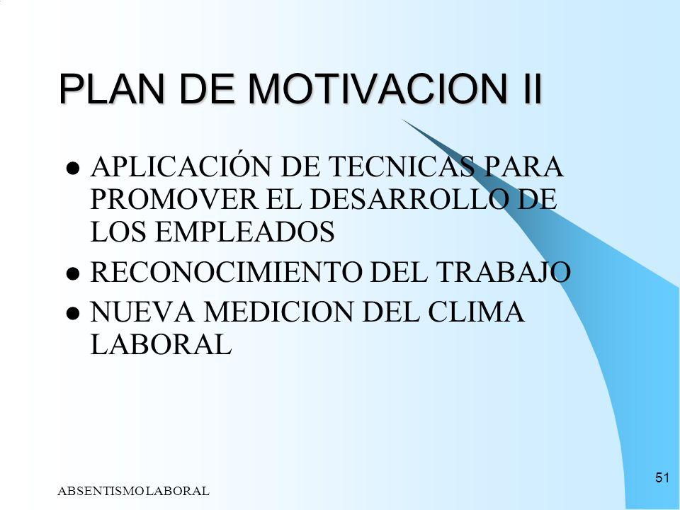 PLAN DE MOTIVACION II APLICACIÓN DE TECNICAS PARA PROMOVER EL DESARROLLO DE LOS EMPLEADOS. RECONOCIMIENTO DEL TRABAJO.