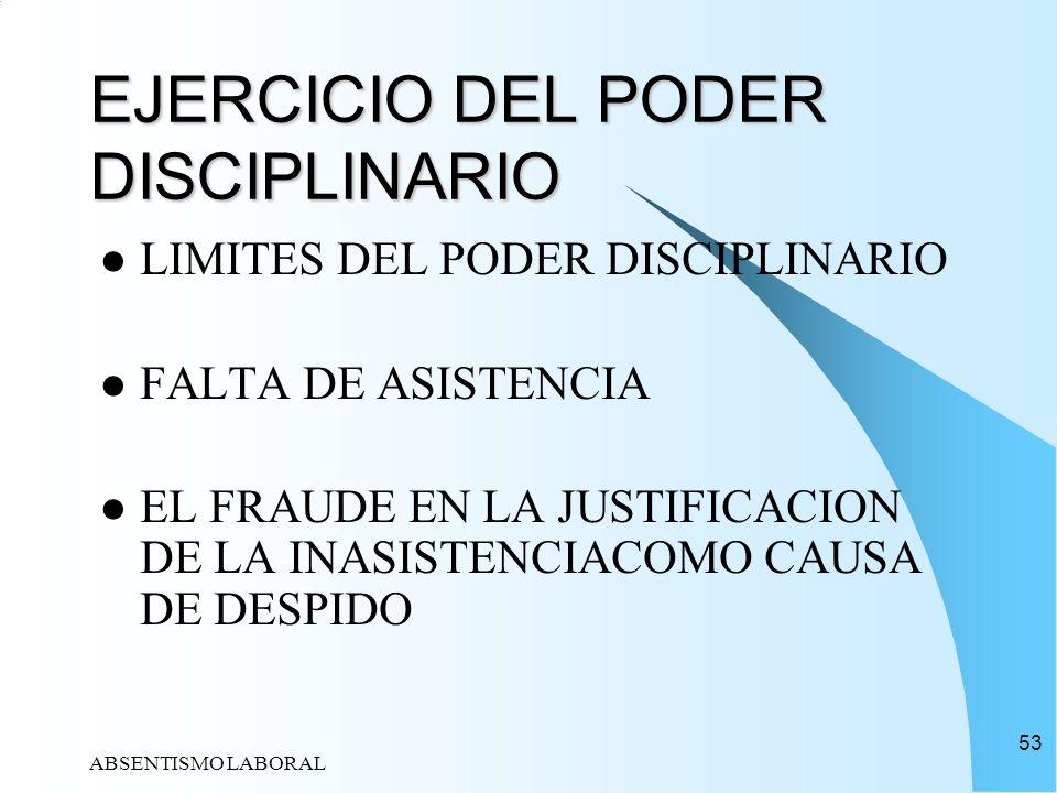 EJERCICIO DEL PODER DISCIPLINARIO