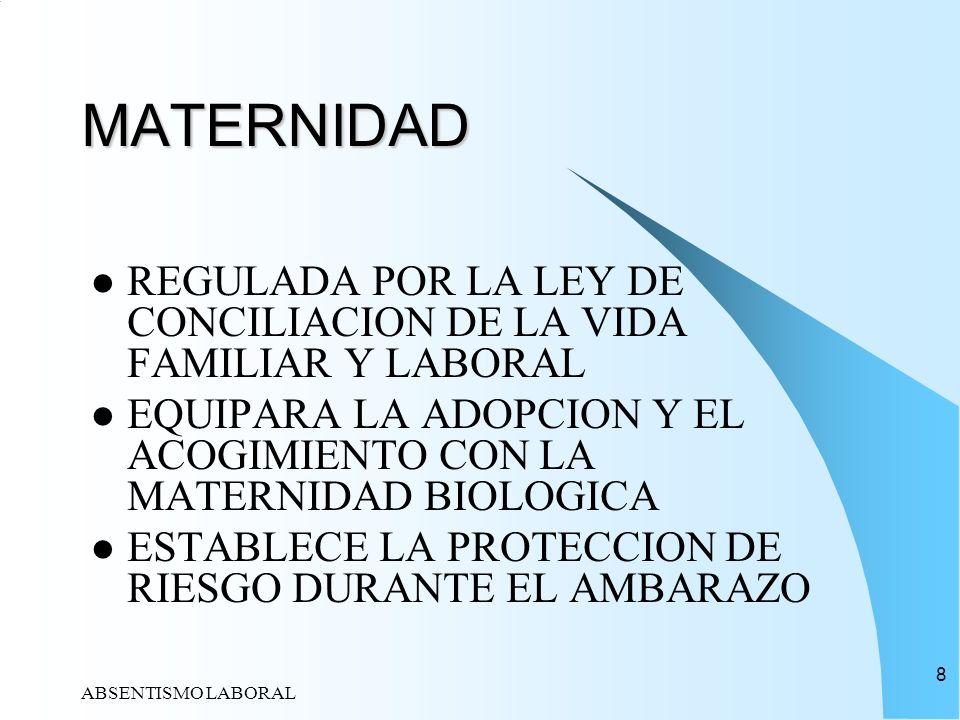MATERNIDADREGULADA POR LA LEY DE CONCILIACION DE LA VIDA FAMILIAR Y LABORAL. EQUIPARA LA ADOPCION Y EL ACOGIMIENTO CON LA MATERNIDAD BIOLOGICA.