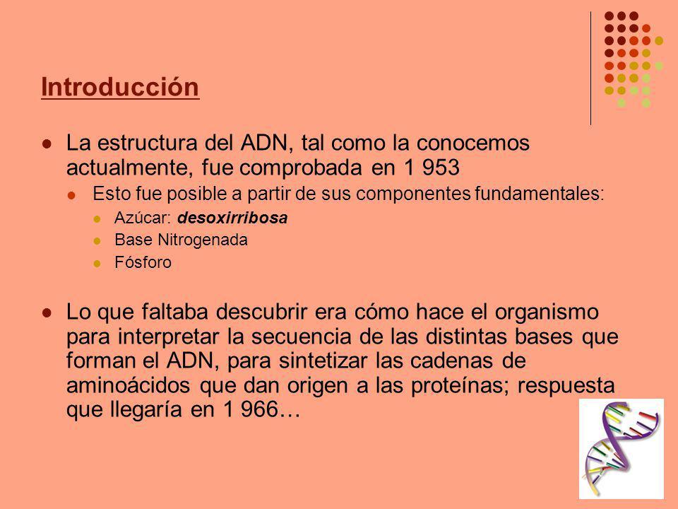 Introducción La estructura del ADN, tal como la conocemos actualmente, fue comprobada en 1 953.