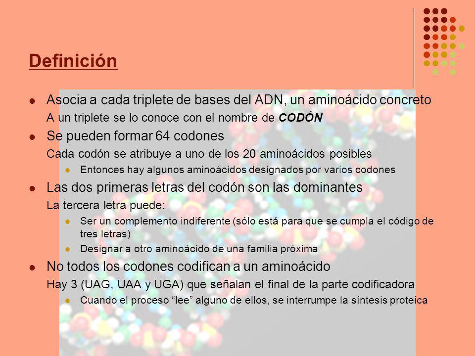 Definición Asocia a cada triplete de bases del ADN, un aminoácido concreto. A un triplete se lo conoce con el nombre de CODÓN.