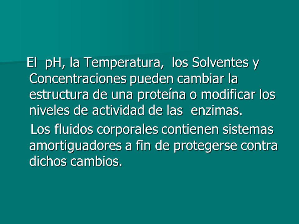 El pH, la Temperatura, los Solventes y Concentraciones pueden cambiar la estructura de una proteína o modificar los niveles de actividad de las enzimas.