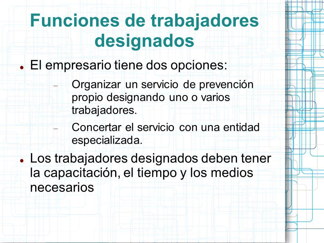 Funciones de trabajadores designados