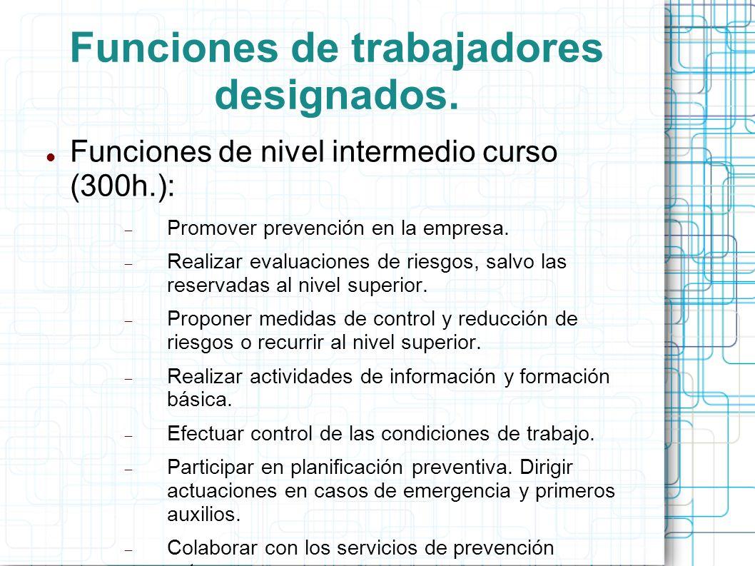 Funciones de trabajadores designados.