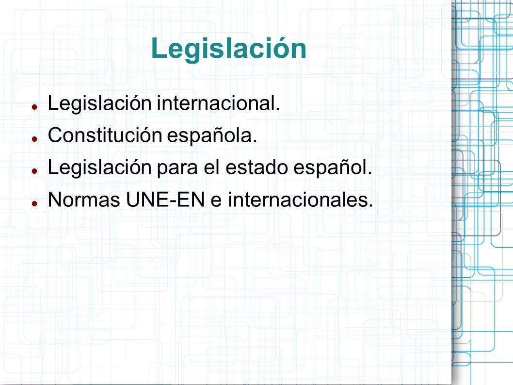 Legislación Legislación internacional. Constitución española.