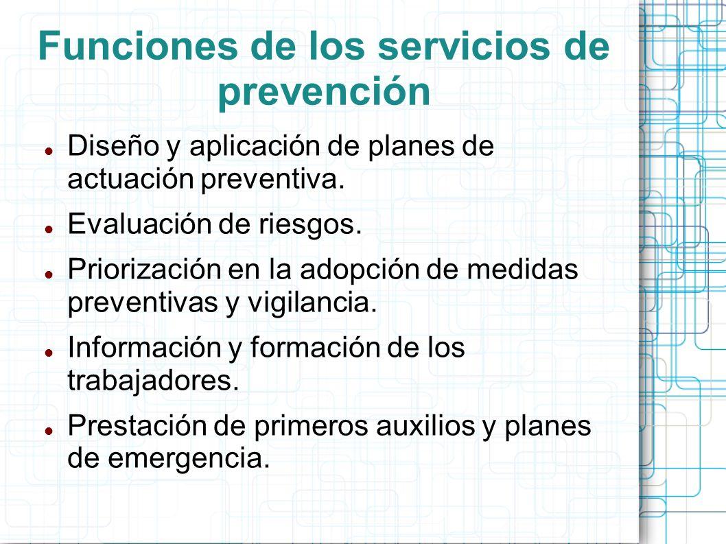 Funciones de los servicios de prevención