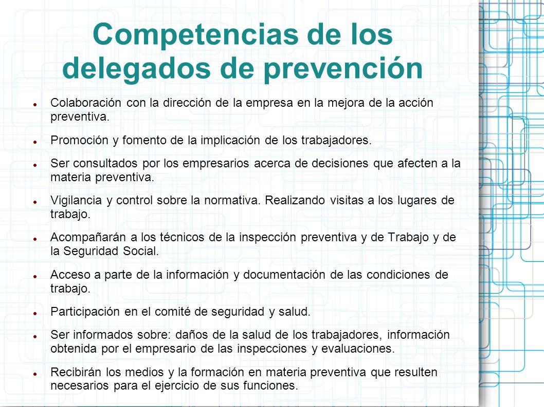 Competencias de los delegados de prevención