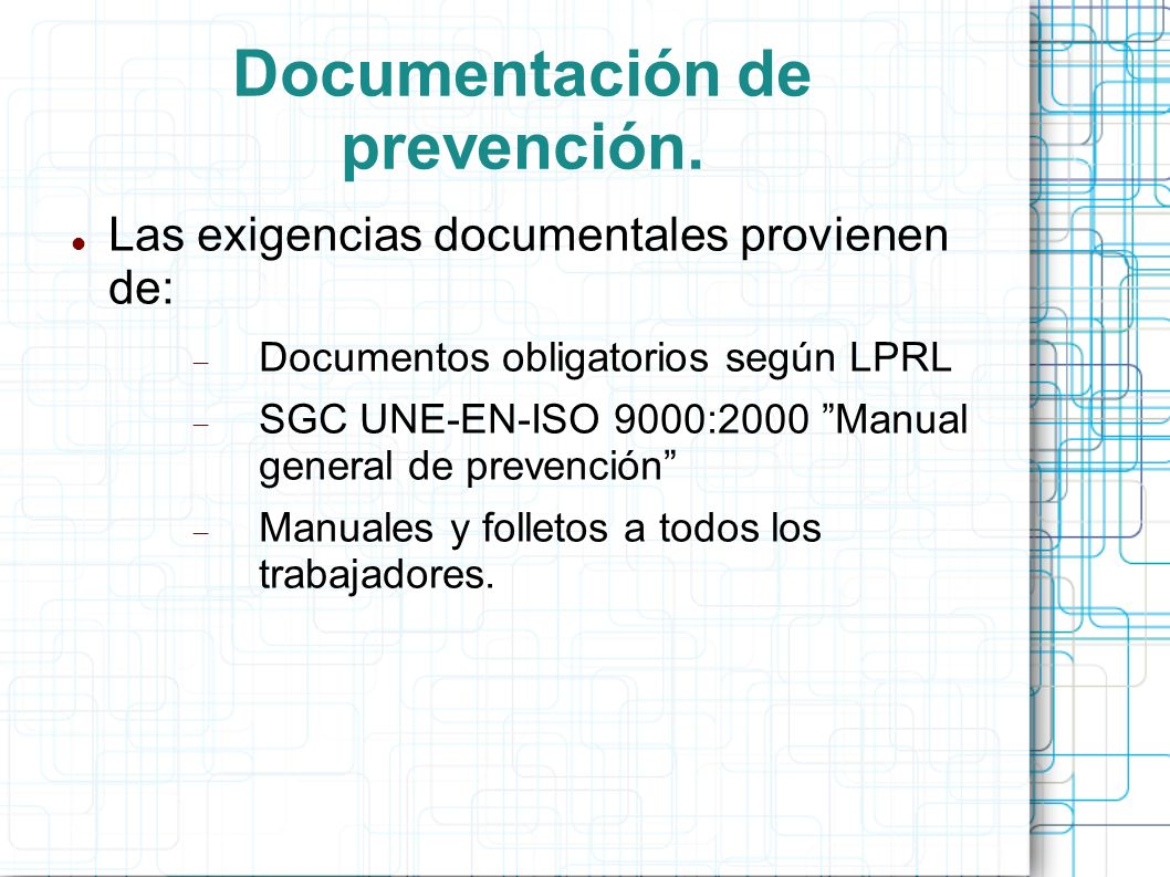 Documentación de prevención.