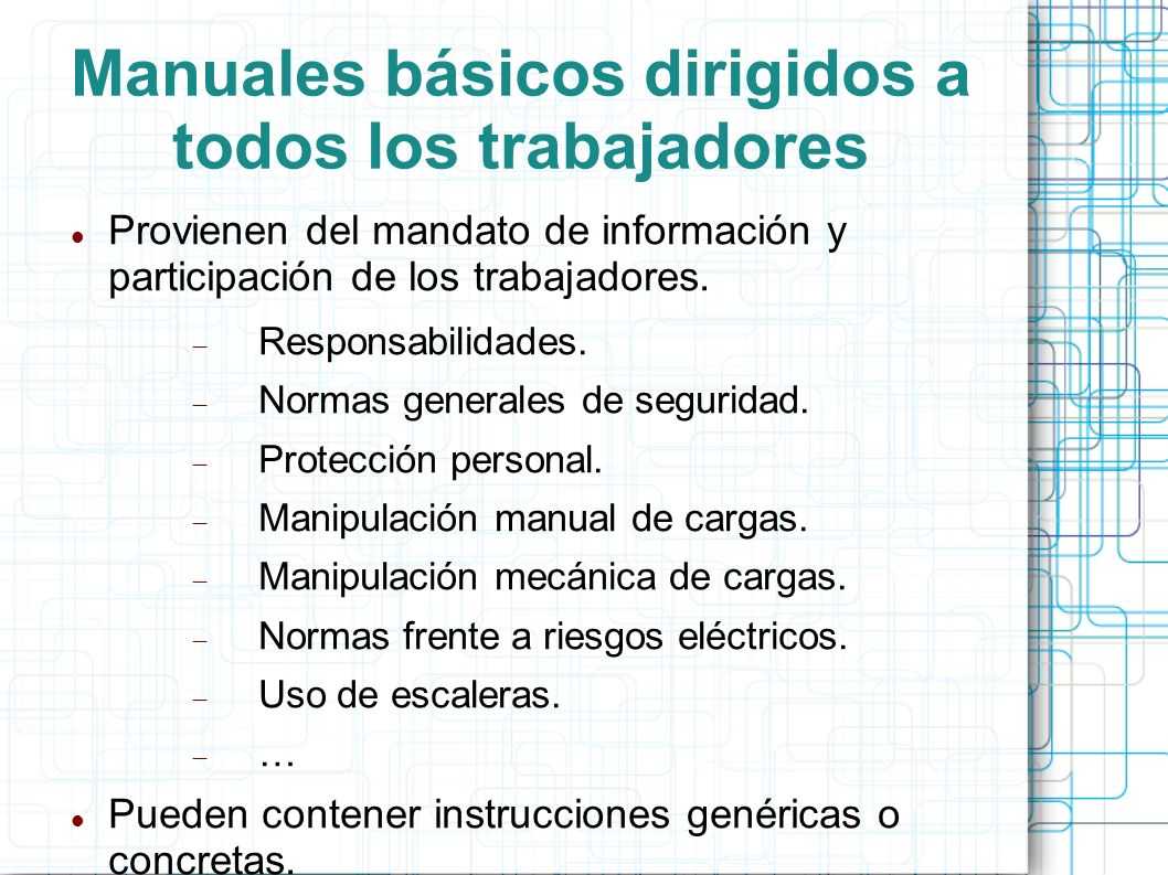 Manuales básicos dirigidos a todos los trabajadores