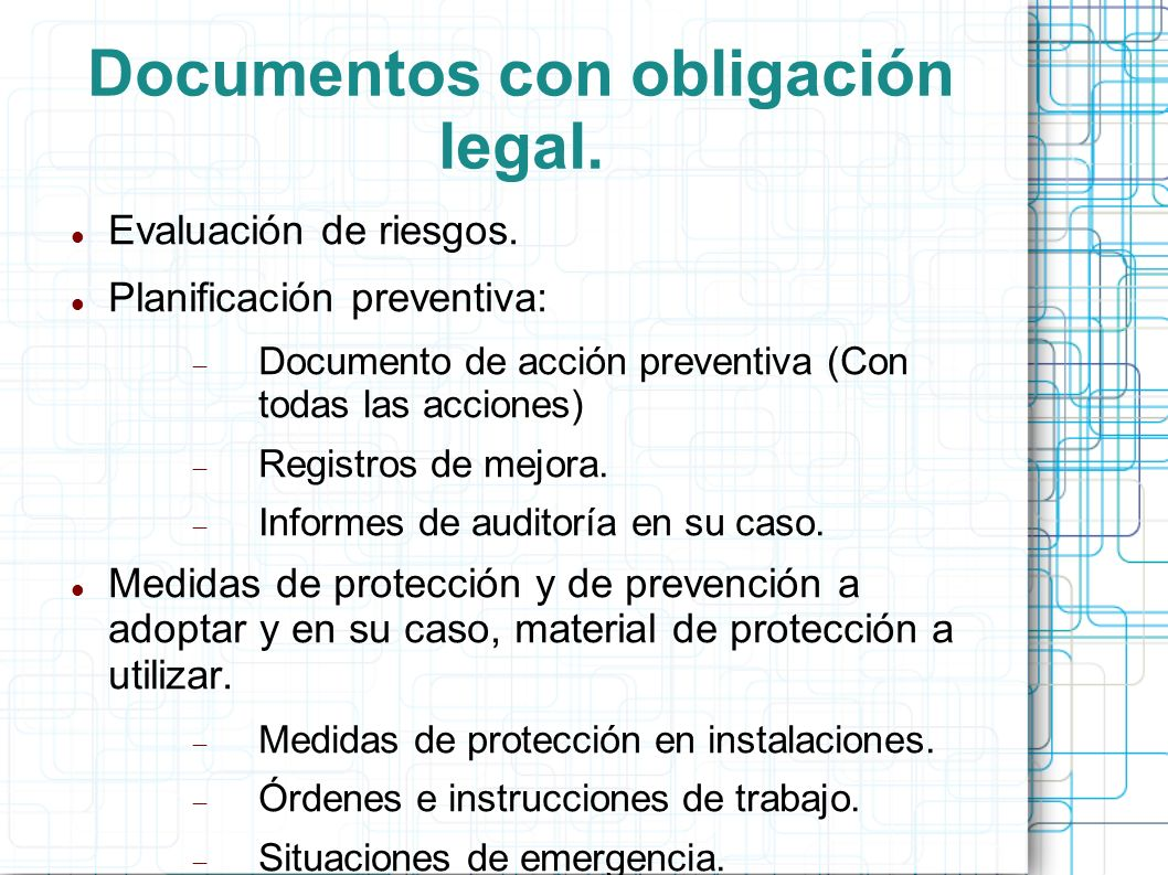 Documentos con obligación legal.