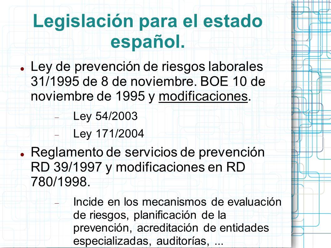 Legislación para el estado español.