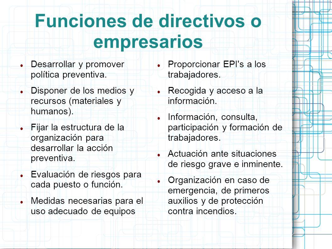 Funciones de directivos o empresarios
