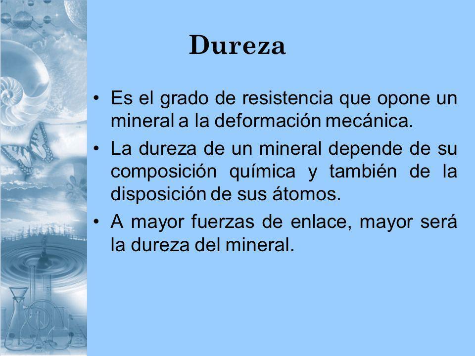 Dureza Es el grado de resistencia que opone un mineral a la deformación mecánica.