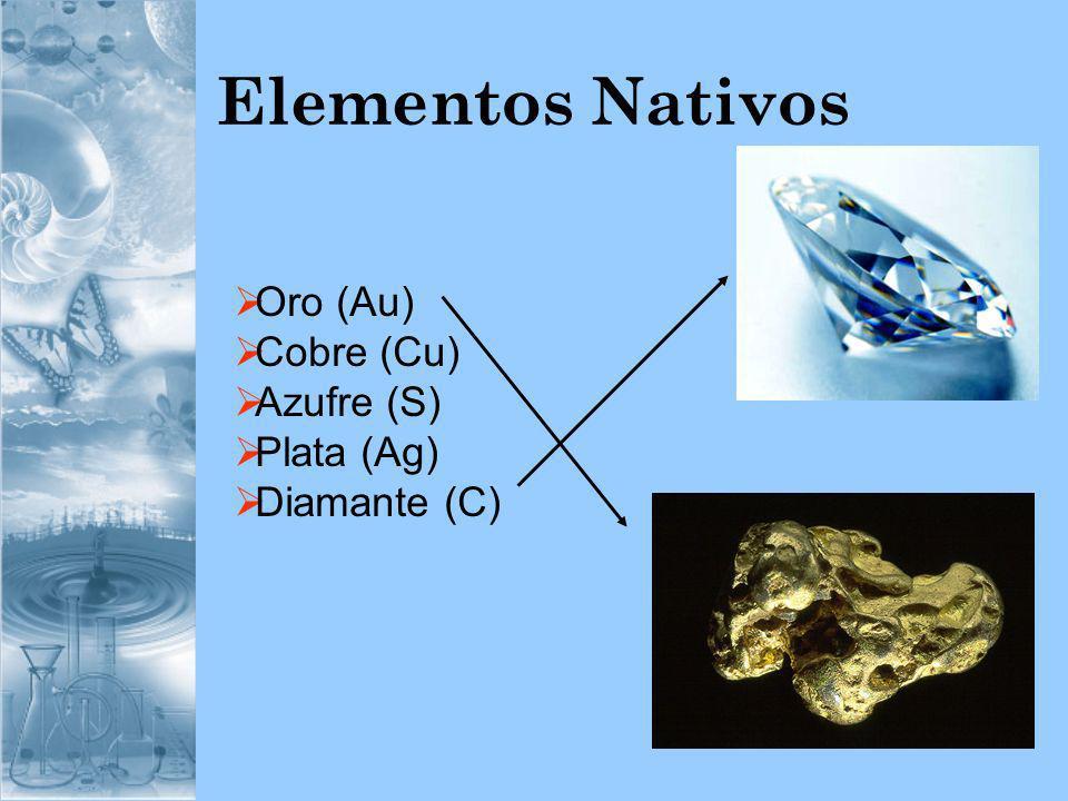 Elementos Nativos Oro (Au) Cobre (Cu) Azufre (S) Plata (Ag)