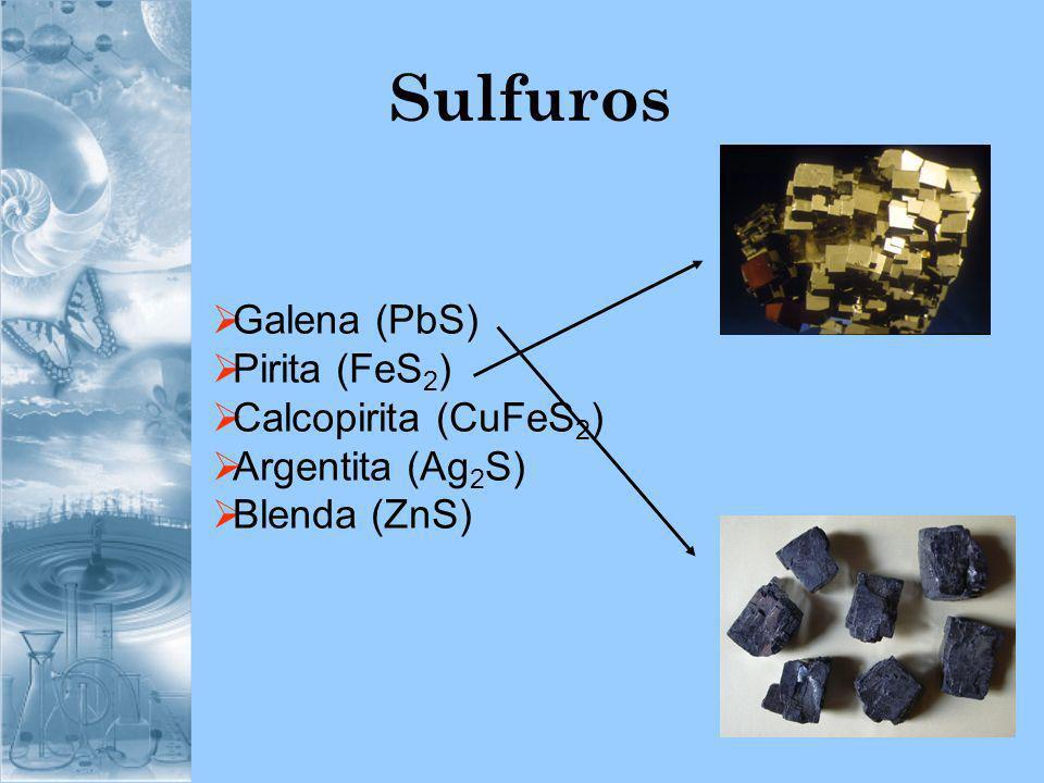 Sulfuros Galena (PbS) Pirita (FeS2) Calcopirita (CuFeS2)