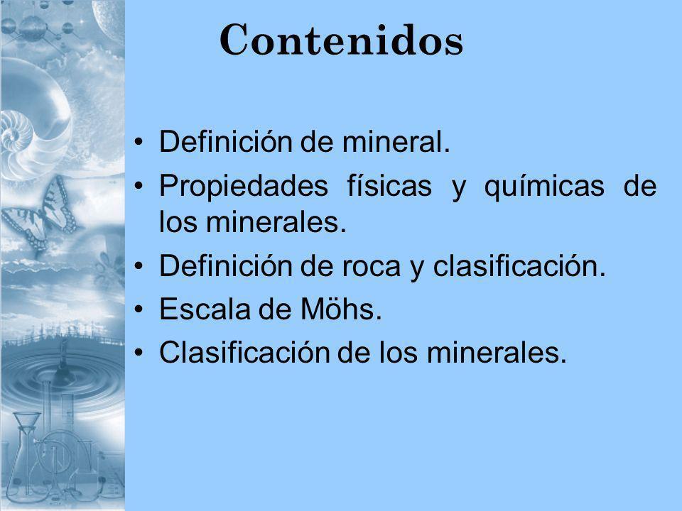 Contenidos Definición de mineral.