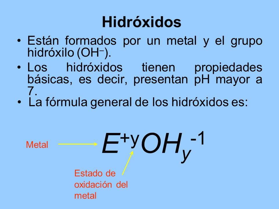 Hidróxidos Están formados por un metal y el grupo hidróxilo (OH–). Los hidróxidos tienen propiedades básicas, es decir, presentan pH mayor a 7.