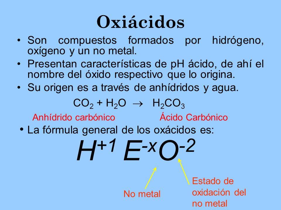 Oxiácidos La fórmula general de los oxácidos es: H+1 E-xO-2