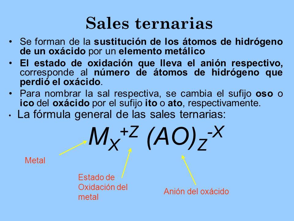 Sales ternarias MX+Z (AO)Z-X